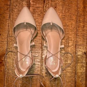 Nude/Cream Lace Up Flats. Size 9.5